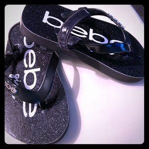 Bebe girl black flip flops